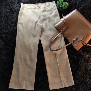 Cabi cream linen blend lined dress trousers.